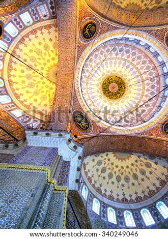 Decoration ornament in New Mosque at Istanbul, Turkey - stock photo