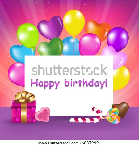 Decoration Ready For Birthday With Balloons, Sweets And Gift - stock photo