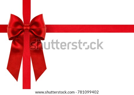 decoration red silk ribbon bow with crosswise ribbons isolated on white background