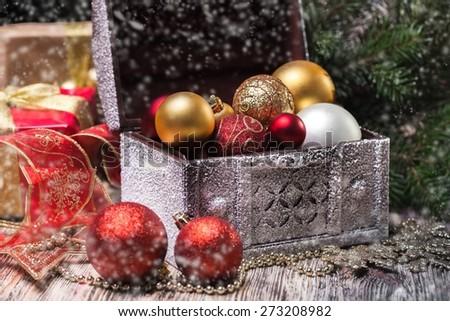 Decoration. Vintage Christmas background with Christmas decoration - stock photo