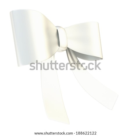 Decorational chrome silver metal glossy ribbon bow isolated over white background - stock photo