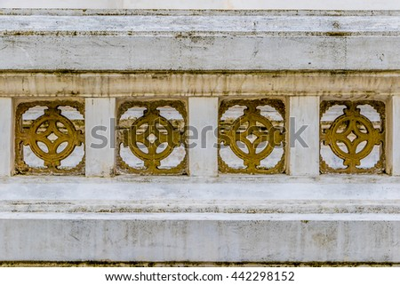 Decorations in Wat Pathum Wanaram (Pathum Wanaram Temple) in Bangkok, Thailand   - stock photo