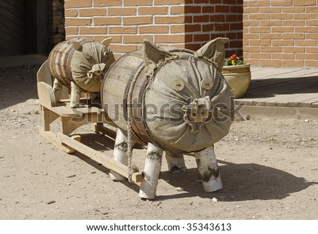 Decorations of pig of Natural stuff - stock photo