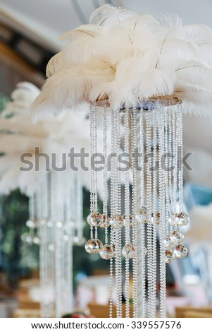 Decorations with feathers and shiny Crystal - stock photo