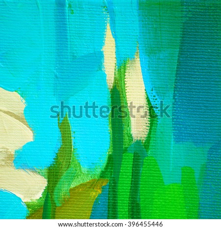 decorative abstract oil painting on canvas, rough, illustration - stock photo