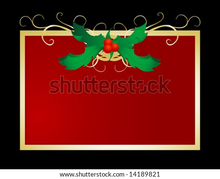 Decorative and festive holly frame perfect for holiday use. - stock photo