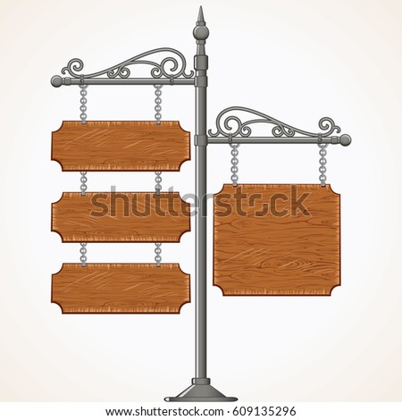 Decorative Antique Wooden Signboard. Isolated Image of Vintage Forged Metal Advertising Signpost