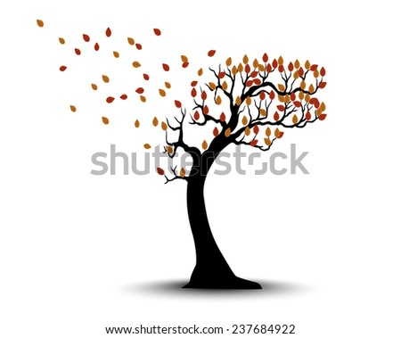 Decorative Autumn Tree Silhouette With Brown Leaves And Wind - stock photo