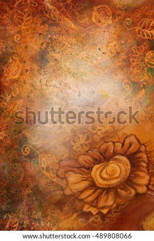 decorative background pattern with many different ornaments in warm tones