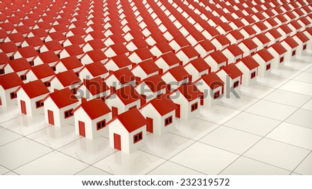 decorative background with tiny houses with red roofs arranged in rows - stock photo