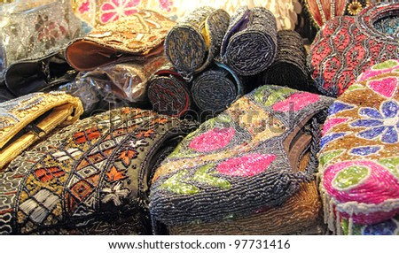 Decorative bags at market in Delhi, India - stock photo