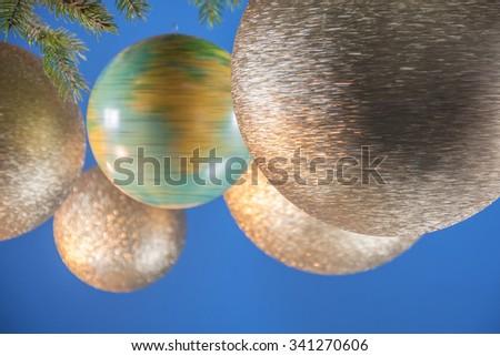 Decorative balls with a globe - stock photo
