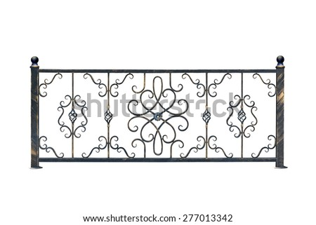 Decorative,  banisters fence for the park and at home. Isolated over white background. - stock photo