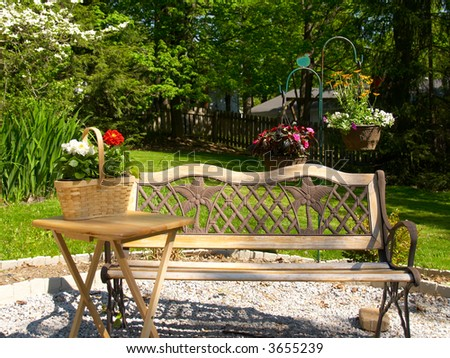 Decorative bench and flowers in an outdoor setting