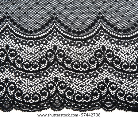 Decorative black lace on insulated white background
