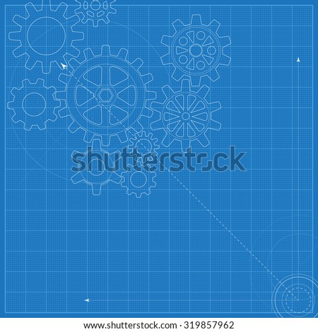 Decorative blueprint with schematic gears on graph paper - stock photo