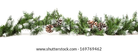 Decorative border from a Christmas tree branches isolated - stock photo