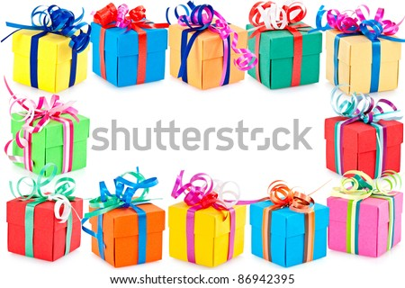 Decorative Border Colorful Wrapped Presents Gifts Stock Photo ...