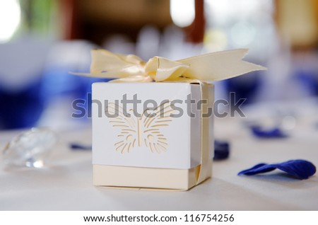Decorative box closeup at wedding reception - stock photo