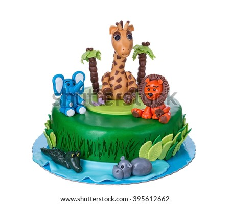 Decorative Cake tale with animals, on the day of the birth of the child. On a white background.