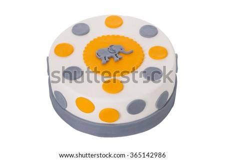 Decorative cake with an elephant. On birthday. - stock photo