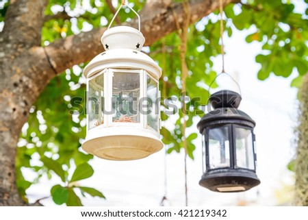 Decorative candle lantern hanging in tree in garden - stock photo