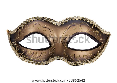 Decorative carnival mask black and gold on a white background - stock photo