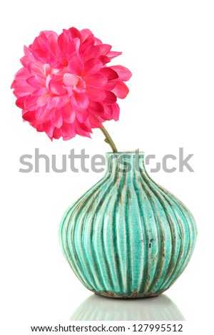 Decorative ceramic vase with pink flower isolated on white