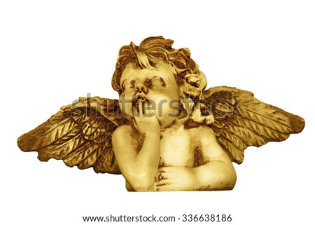 Decorative Christmas angel head figurine isolated on white background - stock photo