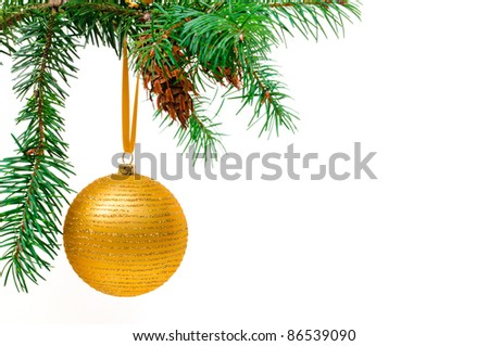 Decorative Christmas ball hangs on the Christmas tree.