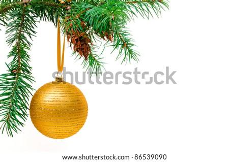 Decorative Christmas ball hangs on the Christmas tree. - stock photo