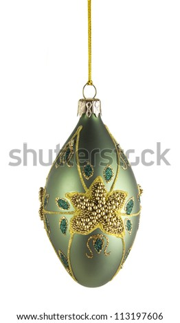 decorative christmas ball isolated on white background with CLIPPING PATH - stock photo