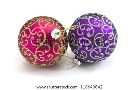 Decorative christmas baubles  isolated on white background - stock photo
