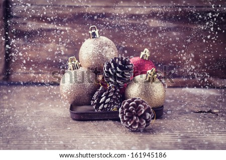 Decorative christmas composition  on old wooden background. Postcard. Retro style. Selective focus. - stock photo