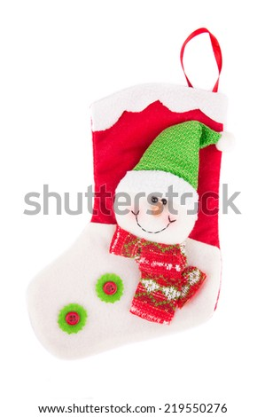 Decorative christmas sock with santa. Isolated on a white background.