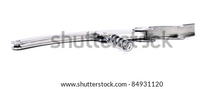 Decorative chrom corkscrew for opening wine bottles isolated on white background