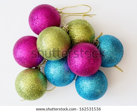 Decorative colorful christmas balls on a white background. - stock photo