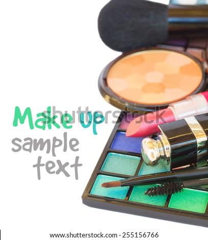 Decorative colorful  make up cosmetics  - eye shadows, lipstick and powder  isolated on white background - stock photo
