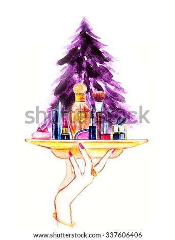 Decorative cosmetics and perfume. Watercolor illustration - stock photo