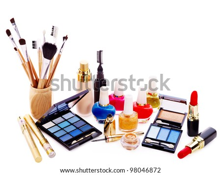 Decorative cosmetics for makeup. Copy space. - stock photo