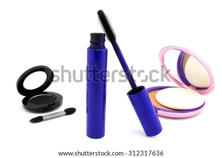 Decorative Cosmetics for Smokey eyes on a white background - stock photo