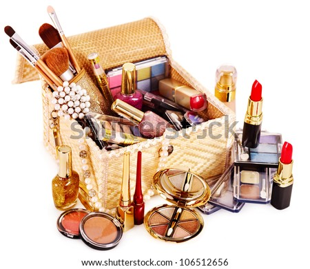 Decorative cosmetics in makeup box. - stock photo