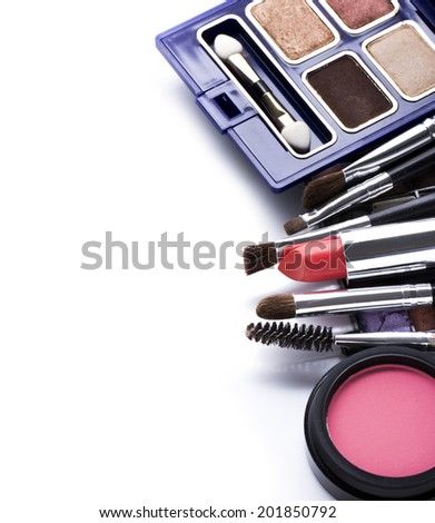 Decorative cosmetics isolated over white background. make up supplies