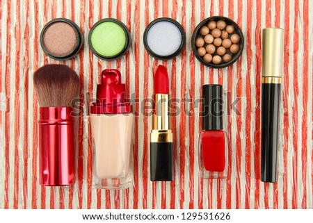 Decorative cosmetics on bright background