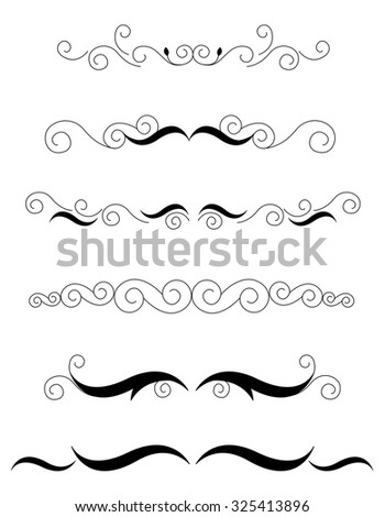 Decorative design elements / dividers for Wedding invitation/ anniversary backgrounds can be use to decorate wedding , anniversary, valentines day, mother's day party invitation / cards. - stock photo
