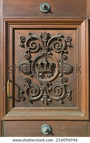 Decorative Door at the Residence in Munich - stock photo
