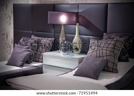 decorative elements in bed room - stock photo