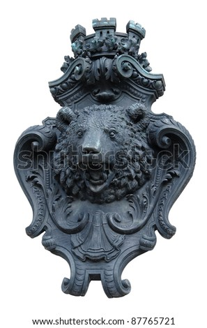 decorative facade adornment showing the head of a bear in Berlin /Germany) isolated on white - stock photo