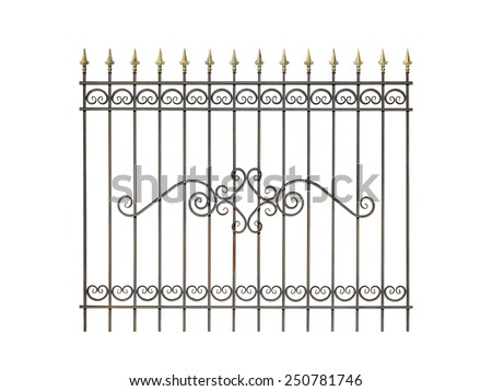 Decorative fence for the park, garden and at home. Isolated over white background. - stock photo