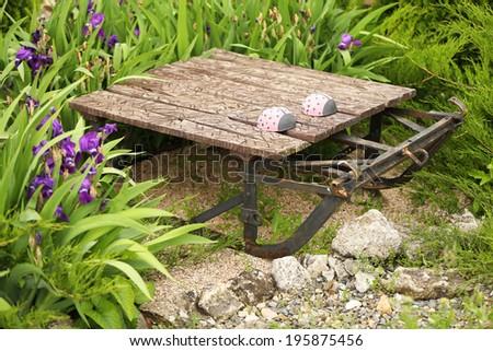 Decorative figure for garden design, outdoors - stock photo